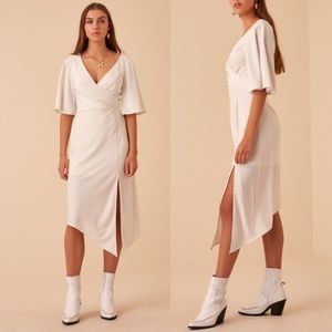 Finders Keepers White Pinstripe Wrap Midi Dress